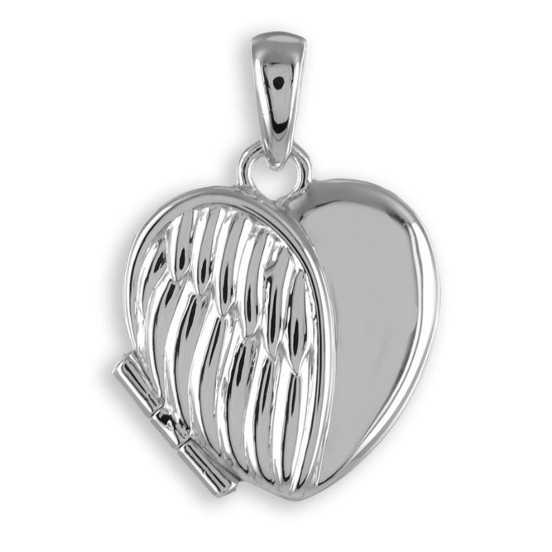 """925 Silber Herz Medaillon """" Flügel"""" 18,5 x 16,7 mm"""