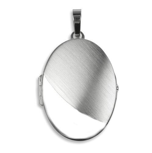 925 Silber Medaillon 49 mm teilmatt gravierbar
