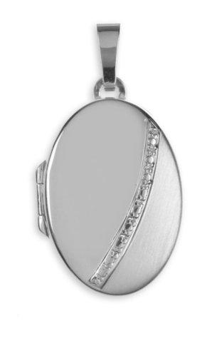 Ovales Medaillon in teilmattiert 925 Silber