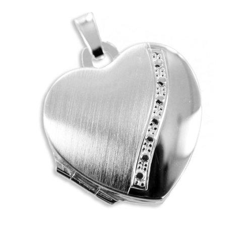 925 Silber Herz Medaillon mattiert und glänzend