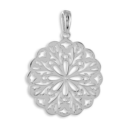 Lebensblume in 925 Silber rhodiniert