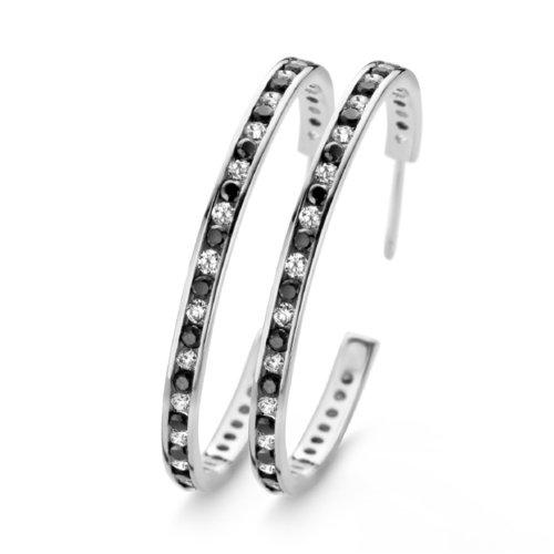925 Silber Creolen 37 x 3 mm black & white Zirkonia