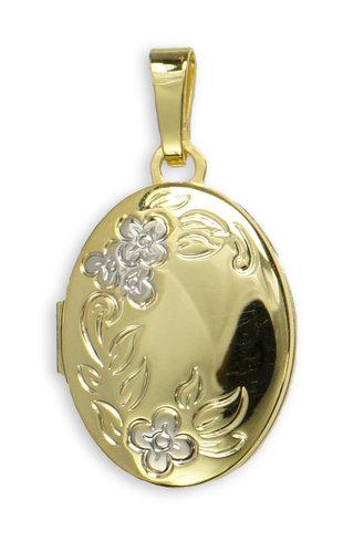 Medaillon bicolor mit floralem Muster in 333 Gold