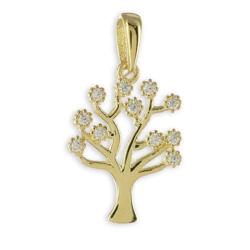 """333 Gold """"Lebensbaum"""" Kettenanhänger mit 11 Zirkonia"""