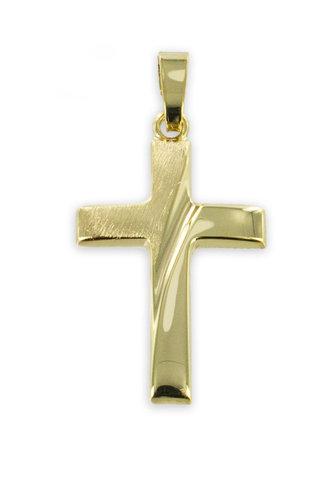 Gold Kreuz Kettenanhänger teilmattiert mit Schliff