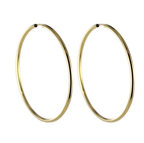 Top aktuelle dünne 5cm Gold Creole 2,4 mm