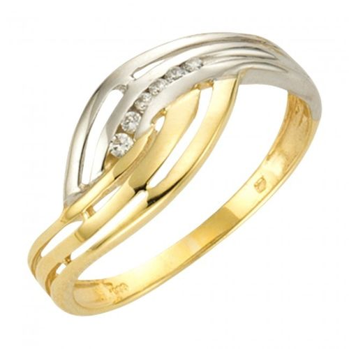 Bicolor Zirkonia Ring in echtem 333 Gold