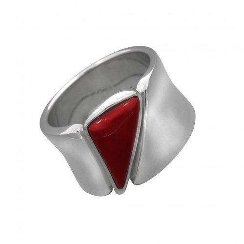 Ring aus rhodiniertem 925 Silber mit Dreieck Koralle