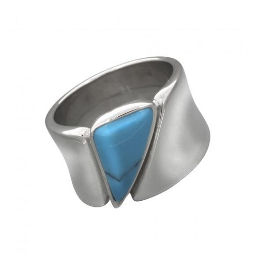 Ring aus rhodiniertem 925 Silber mit Dreieck Türkis