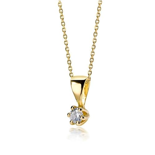 Collier mit Brillant in 585 Gold 0,05 ct wsi