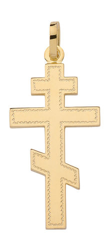 Russisch-orthodoxes Kreuz Kettenanhänger in 585 Gold